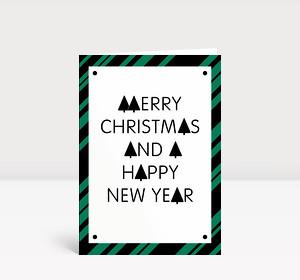 Weihnachtskarte Stylische Weihnachten grün-schwarz