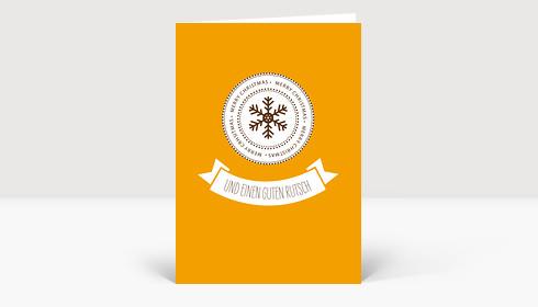 Weihnachtskarte Snowflake Icon Orange