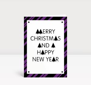 Weihnachtskarte Stylische Weihnachten violett-schwarz