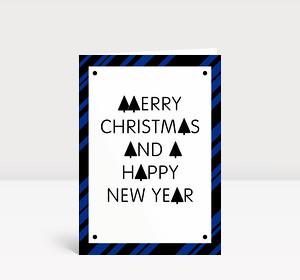 Weihnachtskarte Stylische Weihnachten blau-schwarz
