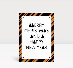 Weihnachtskarte Stylische Weihnachten orange-schwarz