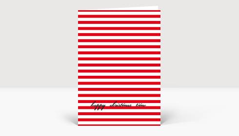 Weihnachtskarte Happy Christmas auf roten Streifen
