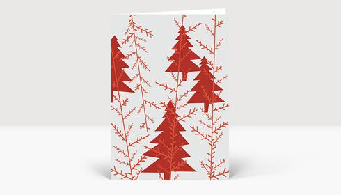 Weihnachtskarte Rote Weihnachtsbäume auf zartrotem Grund