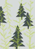 Weihnachtskarte Grün-Graue Weihnachtsbäume auf zartem Grund
