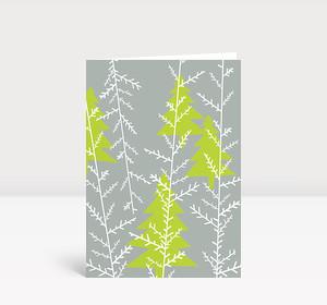 Weihnachtskarte Grüne Weihnachtsbäume auf grauem Grund