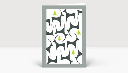 Weihnachtskarte Graziles Reh mit Tannen in grau und grün