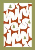 Weihnachtskarte Graziles Reh mit Tannen in rotbraun und grün