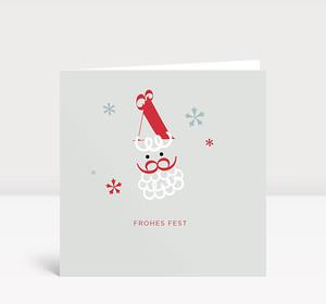 Weihnachtskarte Weihnachtsmann mit Sternen und Geschenk in rot-weiß auf blau-grauem Untergrund