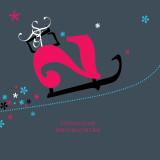 Weihnachtskarte Weihnachtsschlitten mit Geschenken und Sternen in rot-weiß-hellblau auf dunkelblauem Hintergrund
