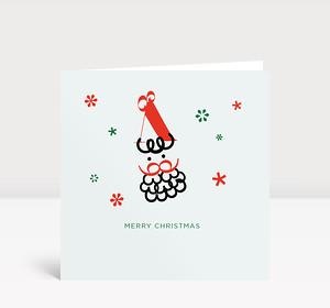 Weihnachtskarte Weihnachtsmann mit roten und grünen Sternen auf hellgrünem Untergrund