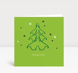 Weihnachtskarte Weihnachtsbaum mit Sternen in dunkelgrün