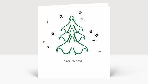 Weihnachtskarte Weihnachtsbaum mit Sternen in dunkelgrün und schwarz auf weißen Untergrund