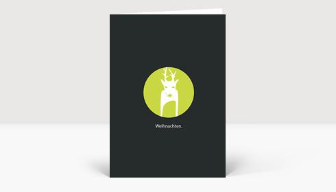Weihnachtskarte Reh in grasgrünem Kreis auf Dunkelgrau