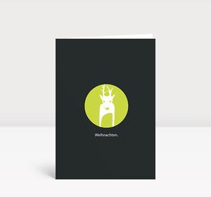 Weihnachtskarte Reh Kreis grün