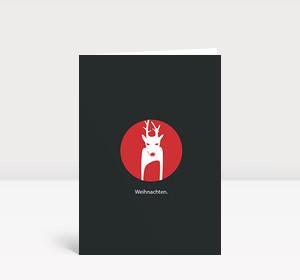 Weihnachtskarte Reh Kreis Rot