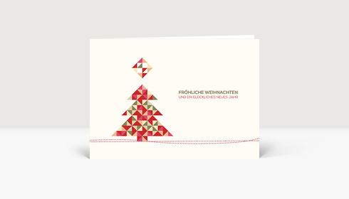 Weihnachtskarte Weihnachtsbaum Dreiecke Rot-Grün