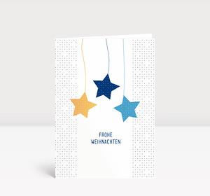 Weihnachtskarte Sternige Weihnachten Blau Gelb #1