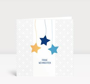 Weihnachtskarte Sternige Weihnachten Blau Gelb quadratisch