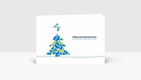 Weihnachtskarte Weihnachtsbaum Dreiecke Blau