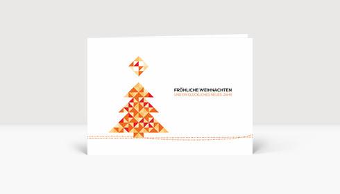 Weihnachtskarte Weihnachtsbaum Dreiecke Orange