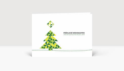 Weihnachtskarte Weihnachtsbaum Dreiecke Grün-Gelb