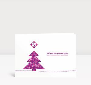 Weihnachtskarte Weihnachtsbaum Dreiecke Violett