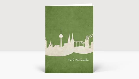 Weihnachtskarte Skyline Köln auf grün