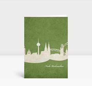 Weihnachtskarte Köln auf grün