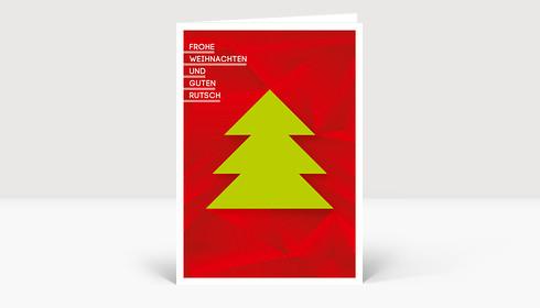 Weihnachtskarte Weihnachtsbaum geometrisch Grün-Rot