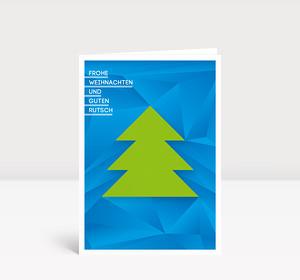 Weihnachtskarte Weihnachtsbaum geometrisch Blau-Grün