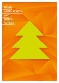 Weihnachtskarte Weihnachtsbaum geometrisch Orange