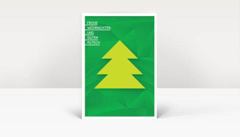 weihnachtskarte weihnachtsbaum geometrisch gr n dk1885. Black Bedroom Furniture Sets. Home Design Ideas