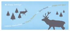 Weihnachtskarte Hirschwald hellblau