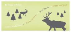 Weihnachtskarte Hirschwald hellgrün