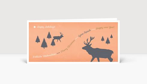 Weihnachtskarte Hirschwald hellorange