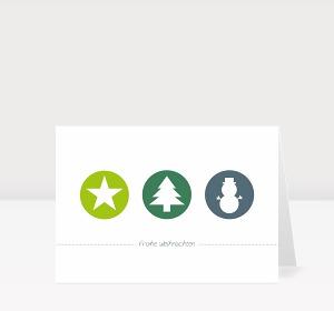 Weihnachtskarte Weihnachtstrio Grün-Blau