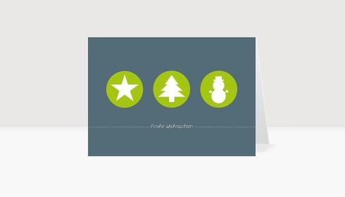 Weihnachtskarte Weihnachtstrio in leuchtendem Grün