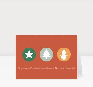 Weihnachtskarte Weihnachtstrio in Retro-Farben