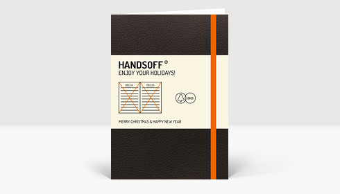 Weihnachtskarte Handsoff Weihnachtskalender orange