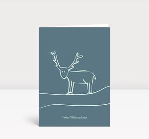 Weihnachtskarte Illustriertes Rentier graublau