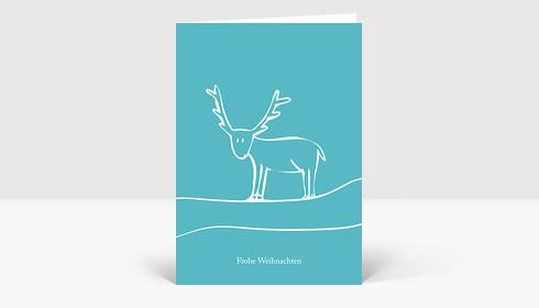 Weihnachtskarte Illustriertes Rentier türkis