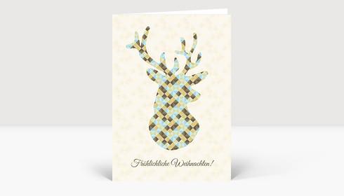 Weihnachtskarte Hirsch Dreiecke braun-blau