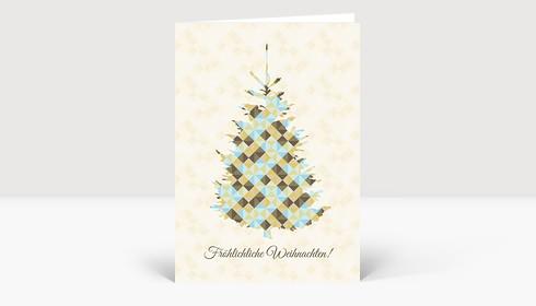 Weihnachtskarte Weihnachtsbaum Dreiecke braun-blau