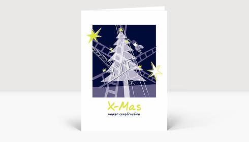 Weihnachtskarte X-Mas under construction violett
