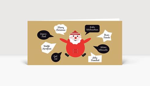 Weihnachtskarte Santa international DIN Lang
