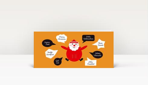weihnachtskarte santa international orange din lang dk1910. Black Bedroom Furniture Sets. Home Design Ideas