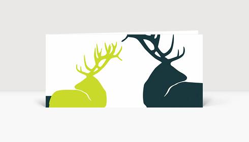 Weihnachtskarte Edle Hirsche Grün auf Weiß