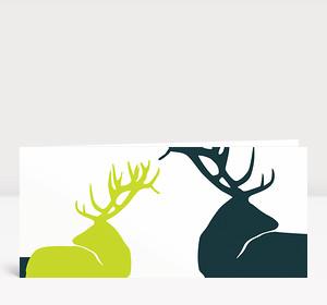 Weihnachtskarte Edle Hirsche Grün