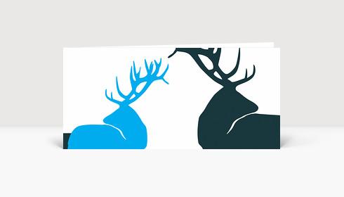 Weihnachtskarte Edle Hirsche Blau auf Weiß