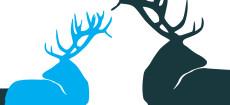 Weihnachtskarte Edle Hirsche Blau